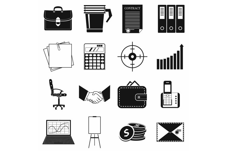 Business and office work icons set, simple style example image 1