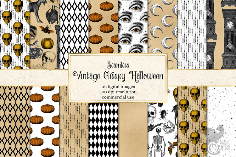 Vintage Creepy Halloween Digital Paper example image 1