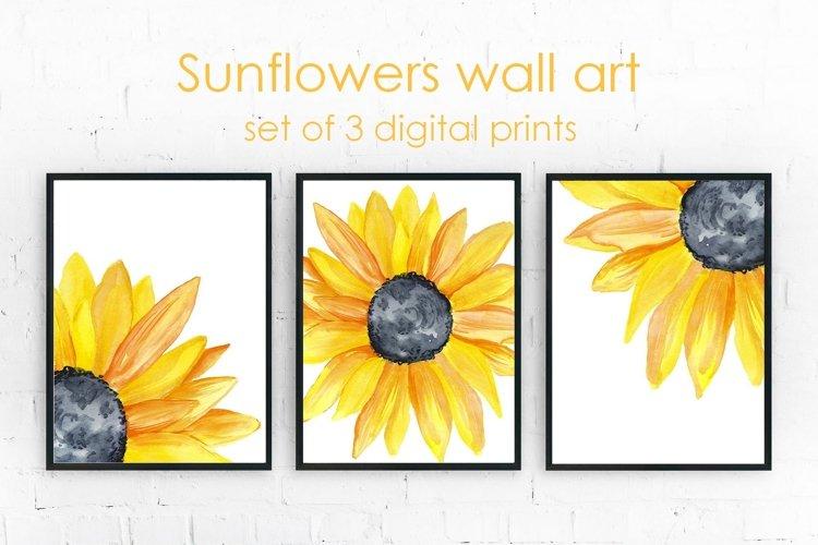 Yellow Sunflowers Wall Art Set of 3 Prints - Wall Decor example image 1