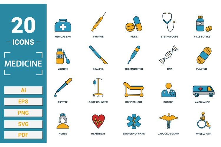 Medicine icon vector set in SVG, PNG, JPG, EPS, PDF, AI.