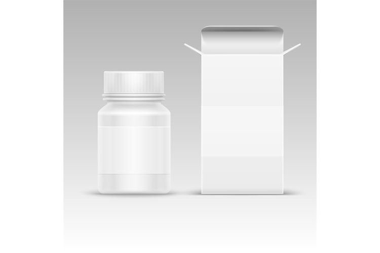 Medical blank packaging paper box and medicine plastic bottl example image 1