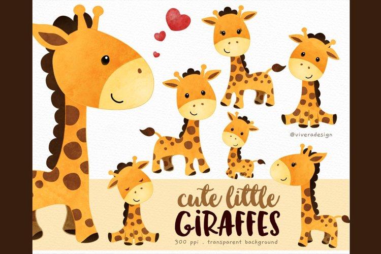 Cute Little Giraffes - Watercolor Clip Arts