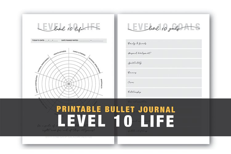 Level 10 Life Bullet journal Template example image 1