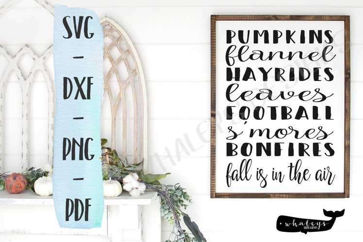 Fall List SVG, PDF, Printable - Pumpkins Flannel Football example image 1
