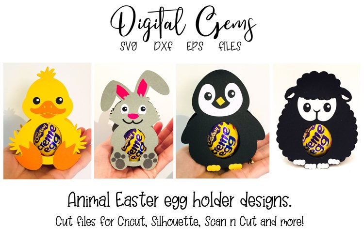Animal egg holder designs Duck, Rabbit, Penguin and Lamb