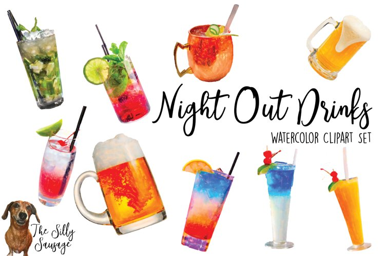 Alcohol Drink Watercolor Clipart example image 1