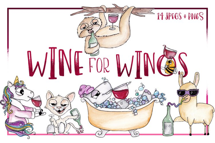 Animal, Watercolor, Clipart, Sublimation, Wine, Winos, PNG