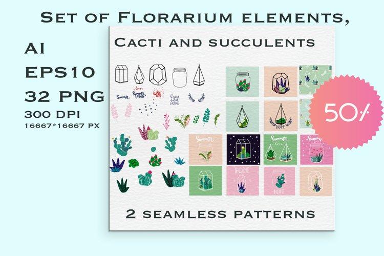 Set of Florarium elements - cacti, succulents, glass form example image 1