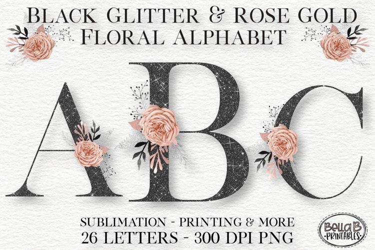 Black Glitter and Rose Gold Floral Alphabet Set, Clipart