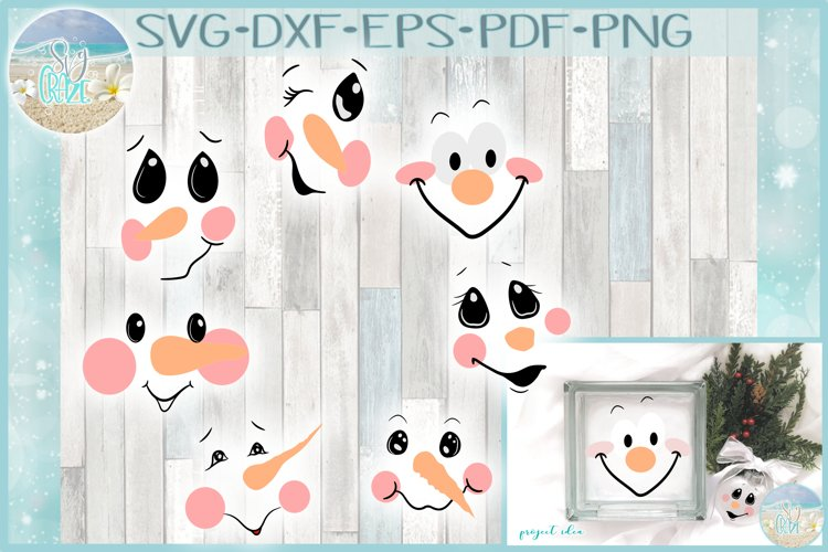 Snowman Face Bundle SVG Dxf Eps Png PDF Files for Cricut example image 1