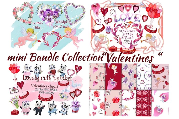 Bundle Valentines. Valentines Day clipart.Digital paper. example image 1