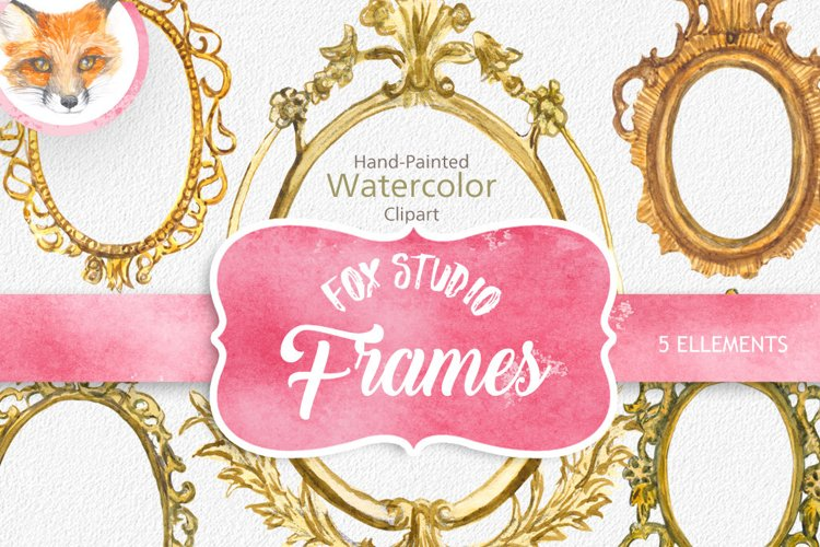 ON SALE, Hand Painted Golden Watercolor Frames Clipart example image 1