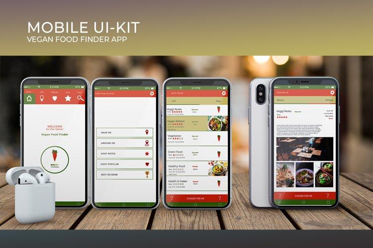 Mobile Ui-Kit   Vegan Food Finder App - 6 PSD Templates