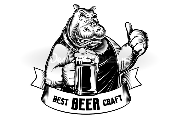 Hippopotamus Beer Glass Craft Behemoth Thumb Emblem Engraved