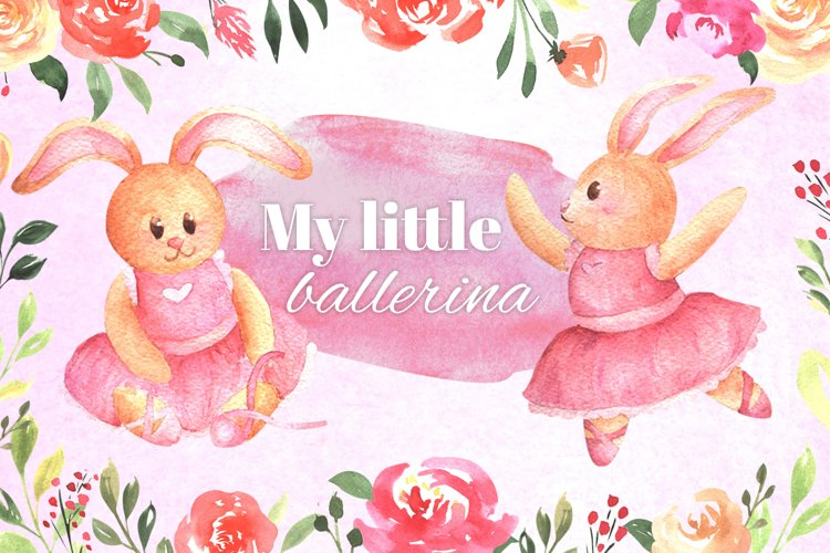 "Watercolor clipart collection for kids ""My little ballerina"" example image 1"