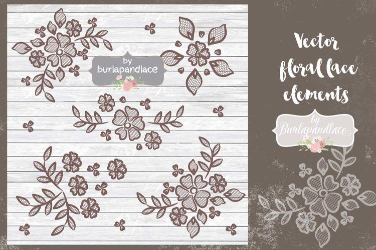 Vector  floral lace elements