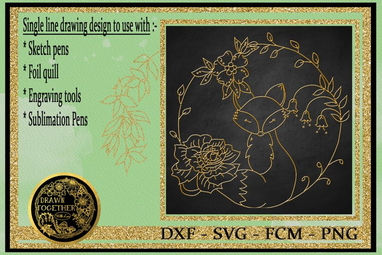 Fox 2 - Single line for Foil Quill, Digi Stamp