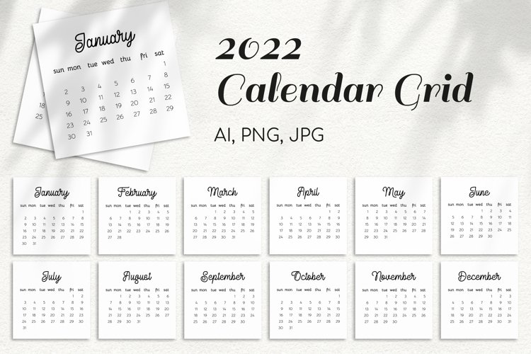 2022 Year Calendar Monthly Grid V1 Elegant Template