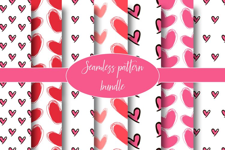 Hearts seamless pattern. Doodle backgrounds example image 1
