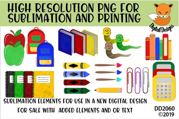 School Elements PNG for Sublimation example image 1