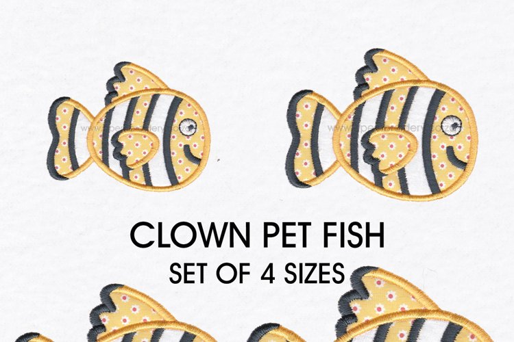 Clown Orange White and Black Pet Fish Applique example image 1
