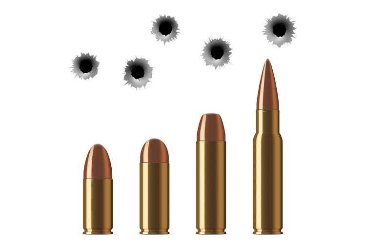 Vector shot gun bullets and bullet holes isolated on white example image 1