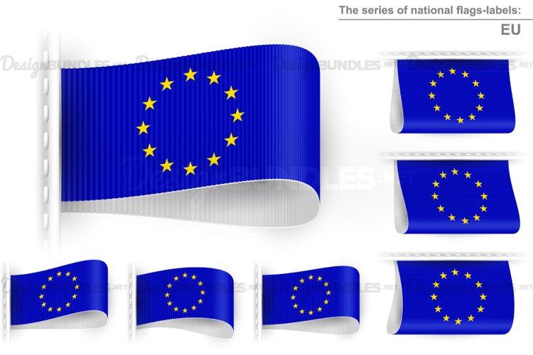 Vector EU Blue White Flag Tag Clothes Label Sticker Sewn Set