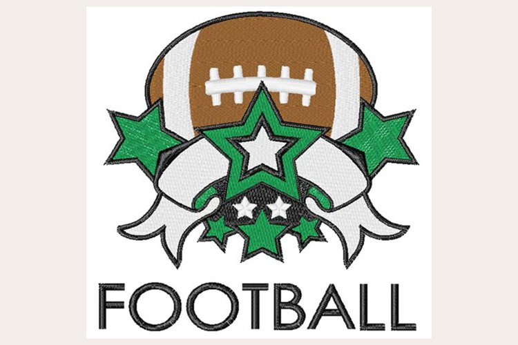 Football Banner & Stars - Machine Embroidery Design example image 1
