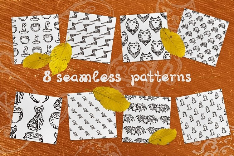 8 patterns with Halloween elements | SVG EPS AI JPEG PNG PSD example image 1