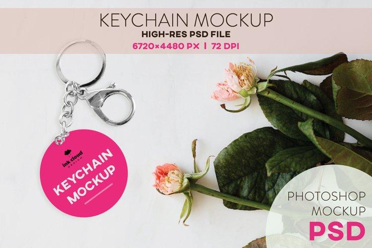Round Keychain PSD Mockup Template Photoshop KeyRing Pattern