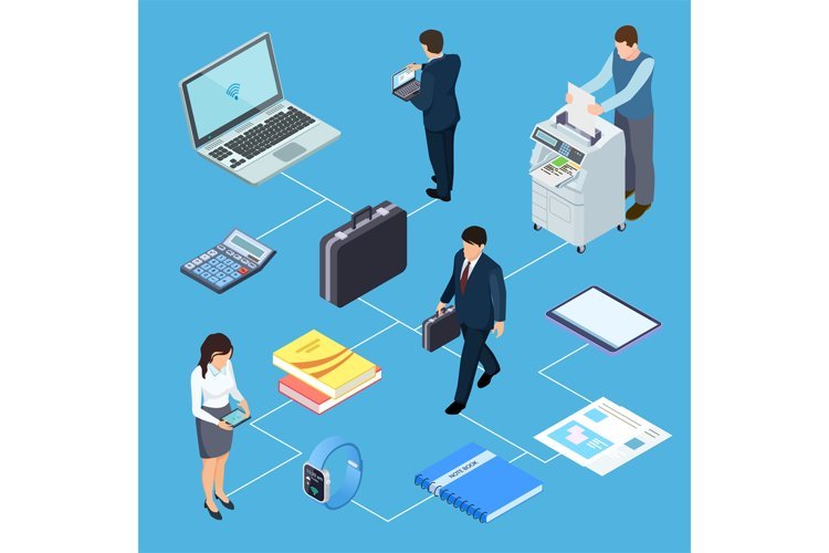 Office equipment, office workers isometric vector concept example image 1