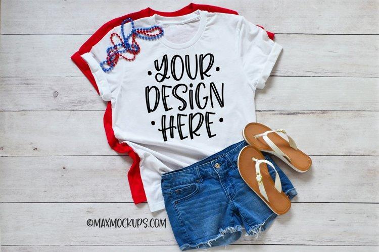 White t-shirt Mockup Bella Canvas, shorts summer July 4th example image 1