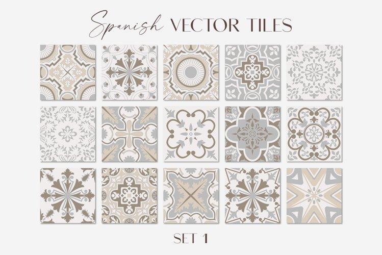 Spanish Tiles Vector Mediterranean Mosaic Set 1