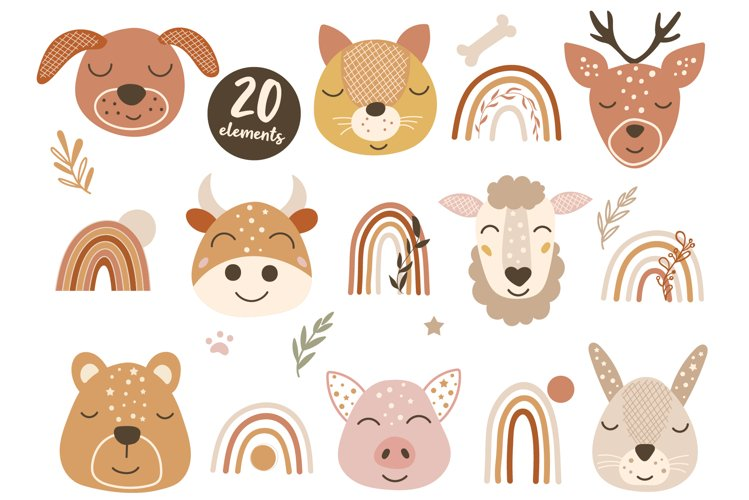 Woodland Baby Animal Faces and Boho Rainbow Clipart