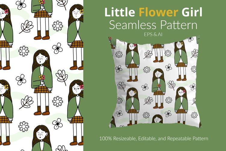 Little Flower Girl - Seamless Pattern example image 1