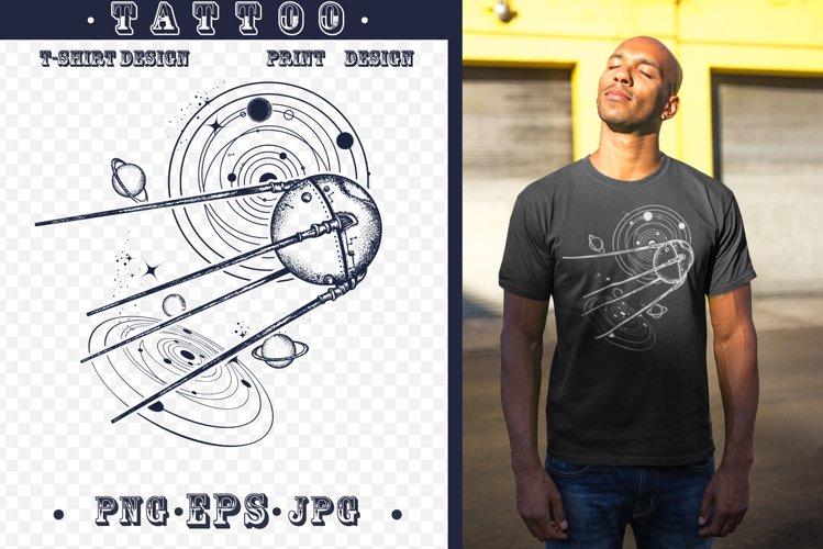 Sputnik space ship tattoo example image 1
