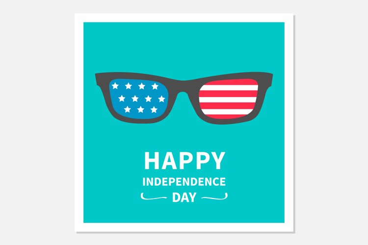 Happy independence day card. Glasses with stars and strips. example image 1
