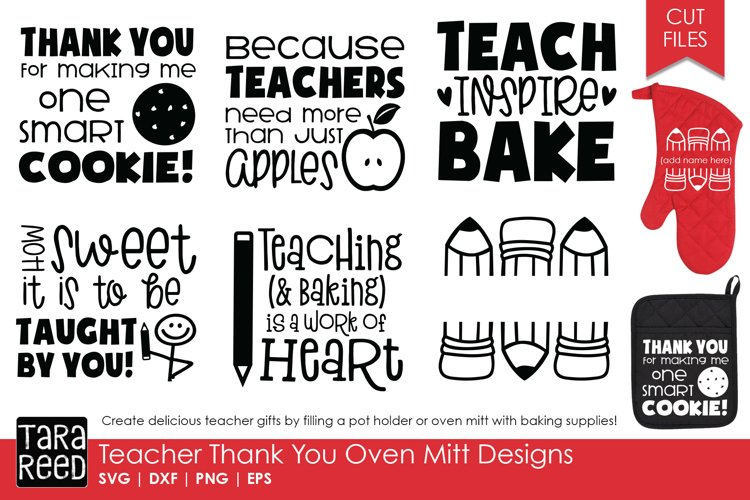 Teacher Thank You Oven Mitts - Teacher SVG files 4 Crafters example image 1