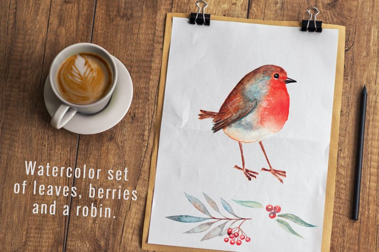 Cute watercolor robin, leaves and berries. example image 1
