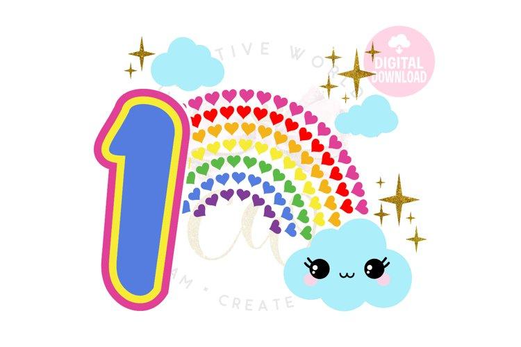 1st Birthday svg | My 1st Birthday svg | Rainbow Birthday example image 1