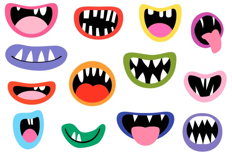 Spooky Monster Mouths clipart, Halloween teeth lips tongues