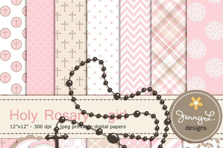 Rosary Girl Baptism Digital Papers and Clipart, First Communion, Confirmation, Christening, Dedication, Religious, Holy Week Scrapbooking Paper, Cross example image 1