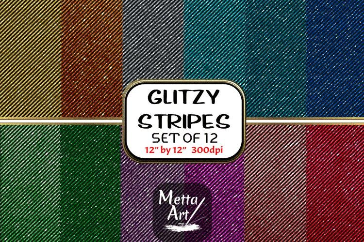 12 Seamless Pattern - 12 x 12 Glitz Diagonal Black Stripes
