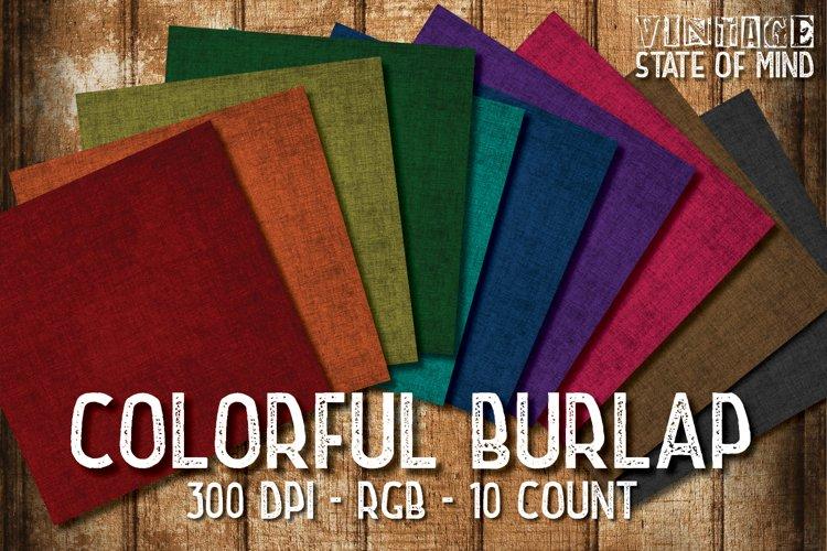 Colorful Burlap Digital Papers example image 1