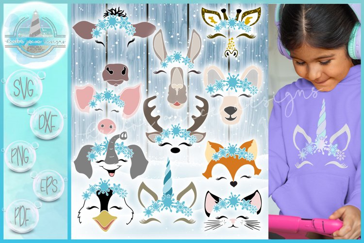 Snowflakes SVG | Smiling Animal Faces Snowflakes SVG Bundle example image 1