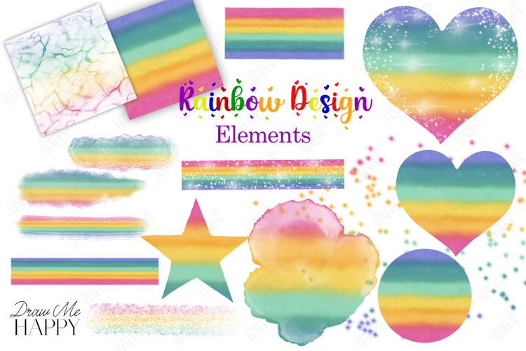 Rainbow Clipart, Rainbow Design Elements, Overlays, Rainbow example image 1