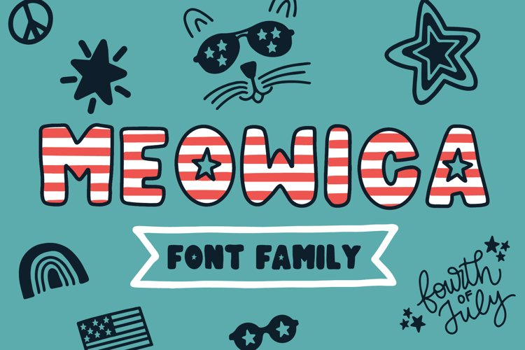 Meowica | A 4th of July Font Family example image 1