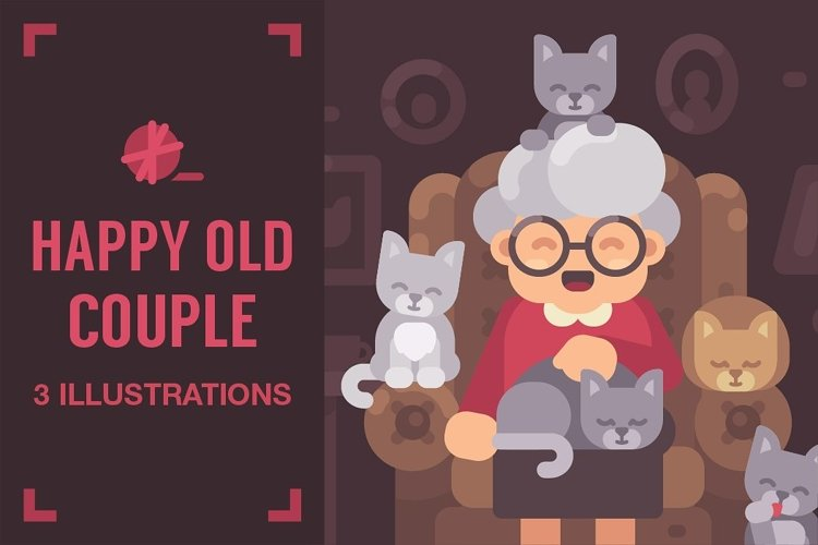 Happy old couple illustrations