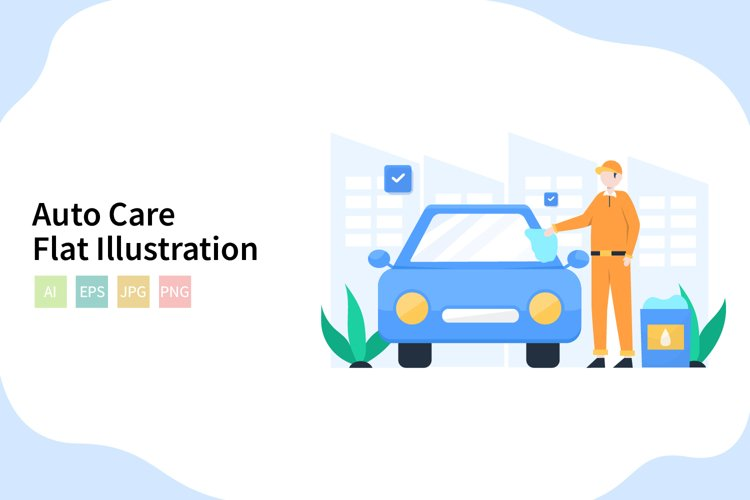 Auto Care Flat Vector Illustration example image 1
