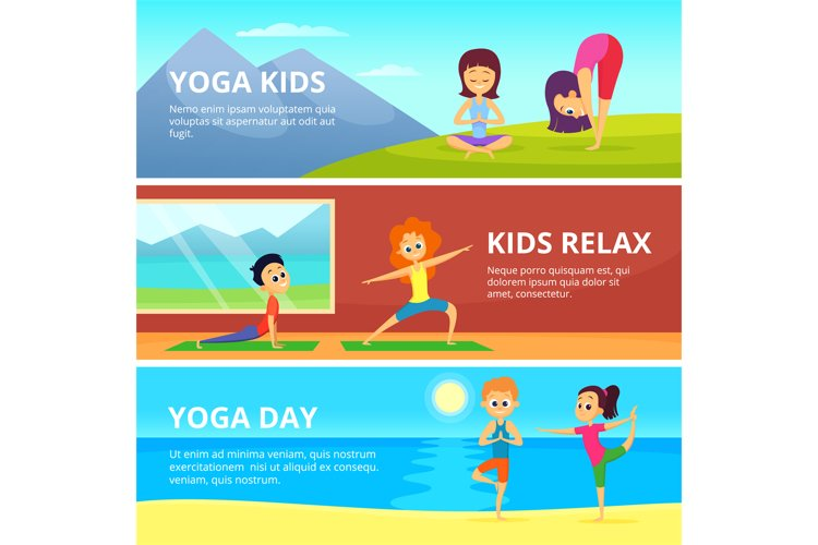 Outdoor pictures of kids making different yoga exercises. Ve example image 1